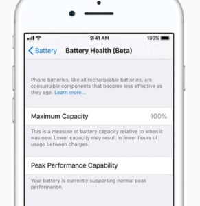 Apple iOS_11.3 battery health screen